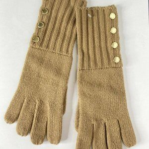 Michael Kors Ribbed Knit Cuffed Gold Button Gloves